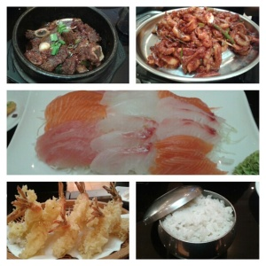 #spicy braised beef #spicty fried octopus #special sashimi #shrimp tempura #rice