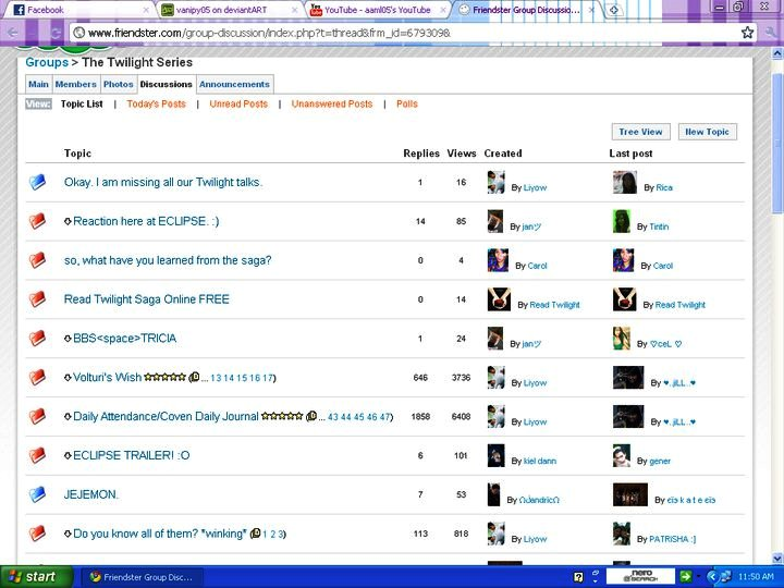 Screen capture of the Twilight Series group in Friendster (by Rica)