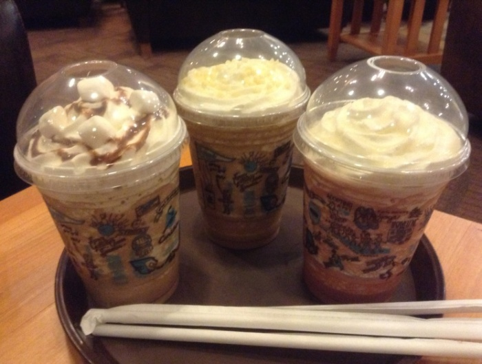 LEFT to RIGHT: Campfire Mocha, Vanilla White Mocha, Berry White Mocha