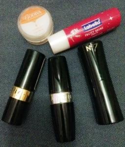 Godiva Lip Balm, Labello Lip Gloss, Revlon LIpstick, Avon Lipstick, No.7 Lipstick