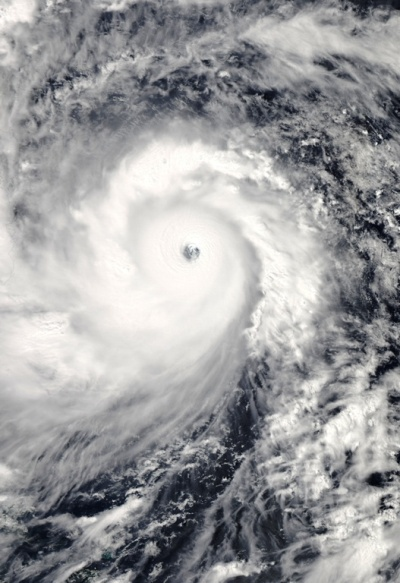Typhoon Haiyan approaching the Philippines